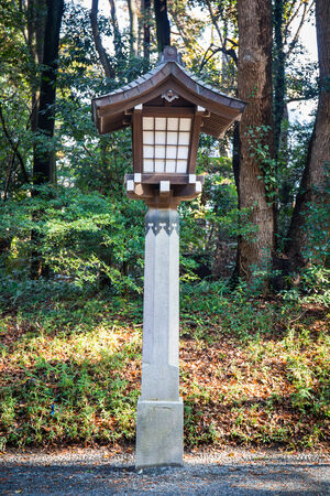 harajuku: Japanese lamp at Meiji Jingu Shrine, Harajuku, tokyo, japan Stock Photo