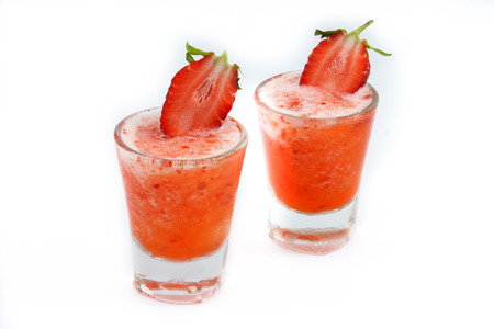 Strawberry healthy smoothie and fresh strawberries photo