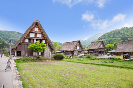 ogimachi: Historical Japanese Village - Shirakawago in spring, travel landmark of Japan Stock Photo