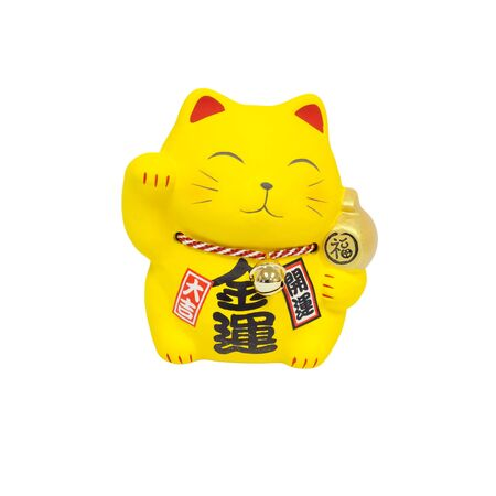 Maneki Neko, Yellow lucky cat isolated on white background Stock fotó