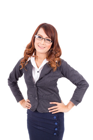 attractive people: Smiling young business woman wearing glasses