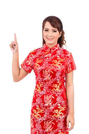 chipao: Asian Chinese girl greeting in Traditional Chinese, Welcome, Guest, chinese new year