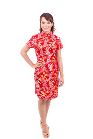 chipao: Asian Chinese girl greeting in Traditional Chinese , chinese new year Stock Photo