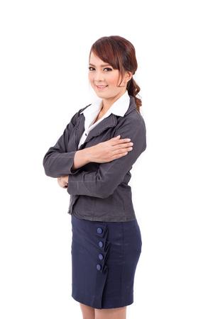 black professional: folded hands . business portrait of smiling asia woman. white background isolated. Stock Photo