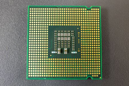 computer cpu: Computer CPU Chip on black surface background Stock Photo