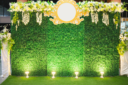 Luxury Indoors Wedding Stage Decorate. backdrop and blank background for input text and symbol Stock Photo