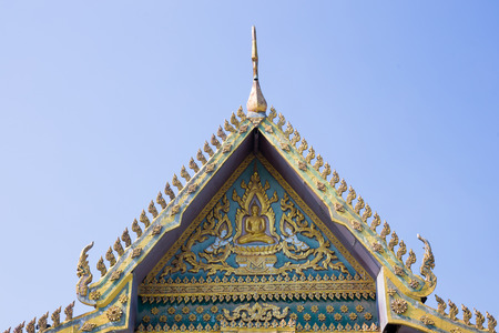 buddhist temple roof: Roof gable Buddhist Temple in Thai style focus Buddha symbol Stock Photo