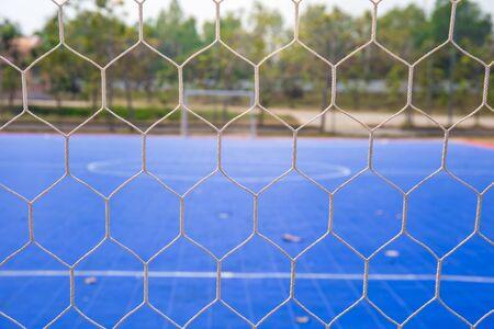 futsal: Goal net with futsal field Stock Photo