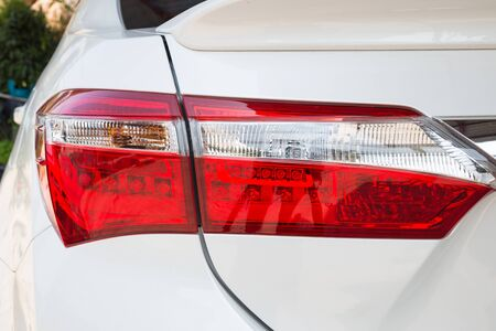 taillight: Closeup of a taillight on a modern white car Stock Photo