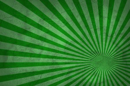 Vintage green rising sun. Abstract sunburst pattern or sunburst background