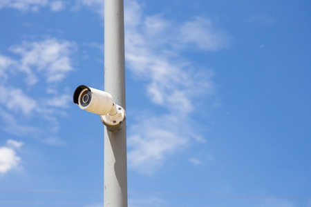 ip camera: Security Day & Night IP cameras for the safety with blue sky background. Technology IP cameras