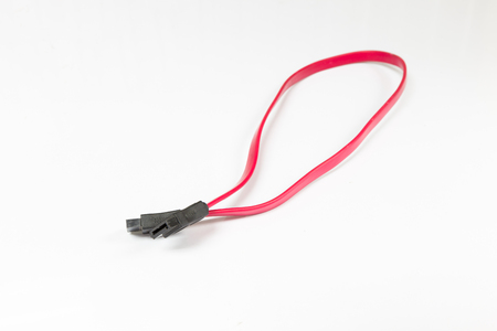 SATA Data Cable on a White Background. Select focus