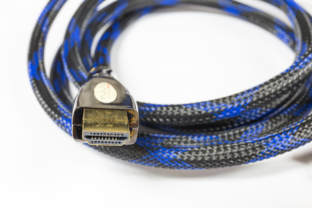 Close up of premium HDMI Cable with golden metal increase efficacy on a White Background.