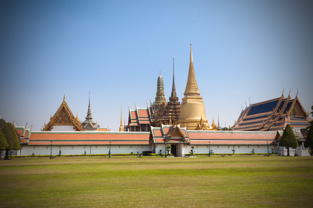 tantric: Dark of Wat phrasrirattana sasadaram(Wat Phra Kaew) or the temple of the Emerald Buddha. Landmarks is important of Bangkok Thailand. Most popular for tourist and people