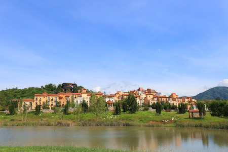 korat: Scenic view of one hotel & resort town made of Toscana Valley theme in italian style at Pak Chong, Korat Nakhon Ratchasima, Thailand Stock Photo