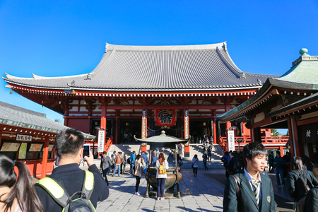 TOKYO,JAPAN -November 19:Unidentified tourists in the Senso-ji Temple on November 19,2014 in Tokyo,Japan.The Sensoji Buddhist Temple is the symbol of Asakusa and one of the most famous temples in all of Japan