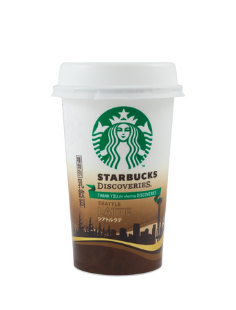 TOKYO, JAPAN - NOVEMBER 24,2014 White coffee cup for latte with Starbucks logo is instant convenience store sell for japan only in Tokyo, Japan 24 November 2014 Editorial