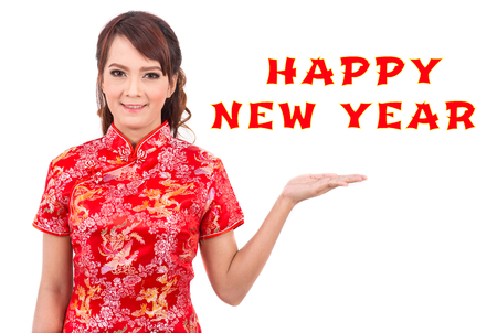 Asian beauty women wear red dress cheongsam or qipao is chinese traditional celebrate  Happy new year .