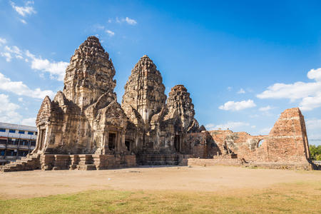 Phra Prang Sam Yot temple, ancient architecture in Center Lopburi, Thailand