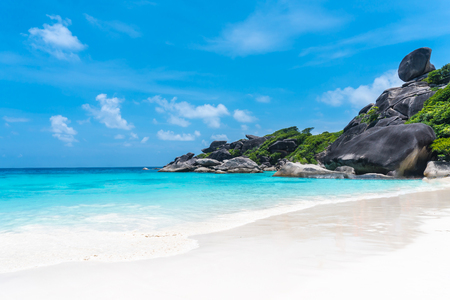 Beautiful view with blue sky and clouds, blue sea and white sand beach on Similan island, No.8 at Similan national park, Phuket, Thailand is most popular vacation for tourist. Stock Photo - 79502168