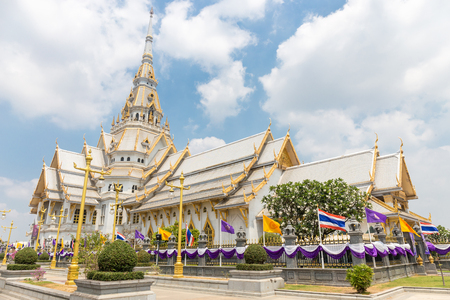 Beautiful temple in Thailand.wat wat sothon wararam worawihan build from marble with cloud sky background at Chachoengsao province