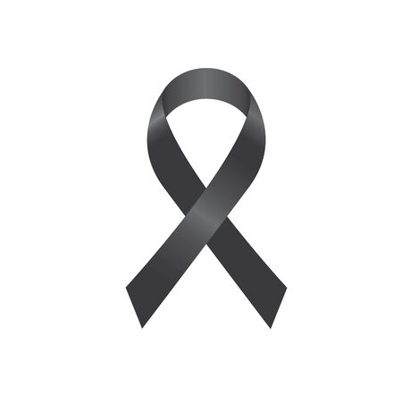 ribbon mourning sign or vector ribbon isolated on white background with shadow Vetores