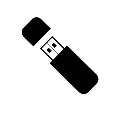 USB flash drive icon with symbol, vector isolated background. Connectors and sockets for PC and mobile devices.