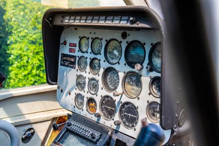Closeup of retro aviation, aircraft control panel dashboard.