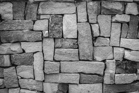 Closeup of old brick wall background Black and white.