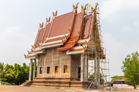 Temple is under construction in countryside at thailand