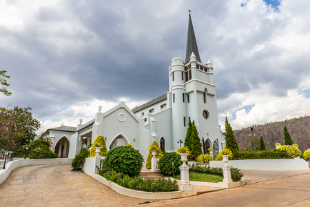 Beautiful white church in the midst of the valley and nature at Pak Chong Nakhon Ratchacima Thailand