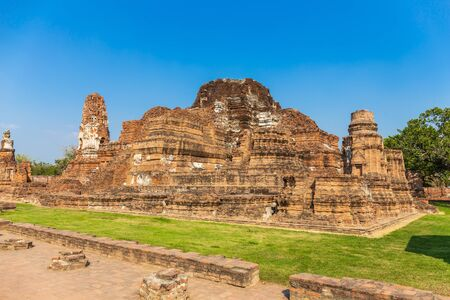 Ancient castle at Wat Mahathat in Buddhist temple Is a temple built in ancient times at Ayutthaya near Bangkok. Thailand Stock Photo