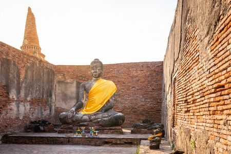 Large buddha in Wat Lokayasutharam Temple in Buddhist temple Is a temple built in ancient times at Ayutthaya near Bangkok. Thailand