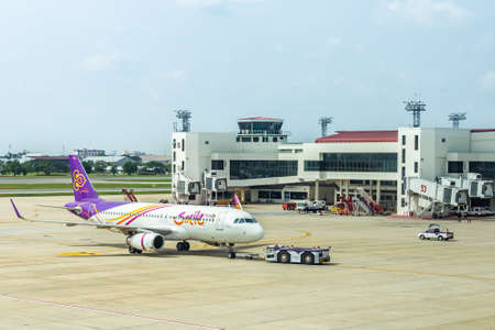 Bangkok, Thailand - November 11,2016 : The plane of Thai airway that is parked on Don Muang Airport is waiting to transport people by weaving both domestically internationally. Sajtókép