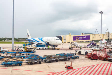 Phuket Thailand - May 29,2016 : The plane of Bangkok airway that is parked on Phuket International Airport is waiting to transport people by weaving both domestically internationally.