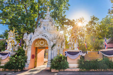 Door of Wat Phra Singh is an ancient, Lanna style temple and a major tourist attraction in Chiang Rai, Thailand.