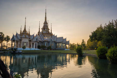 Landscape view Landmark of Nakhon ratchasima Temple at Wat Non Kum in Amphoe Sikhiu, Thailand at sunset time
