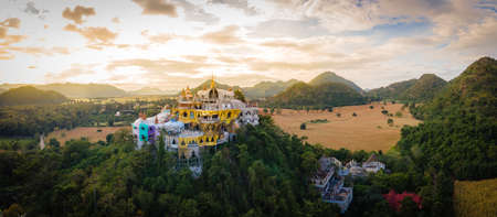 Panorama Landscape of Temple on the mountain at Simalai Songtham Temple in Khao Yai, Pak Chong, Nakhon Ratchasima, Thailand in sunset time Stock fotó