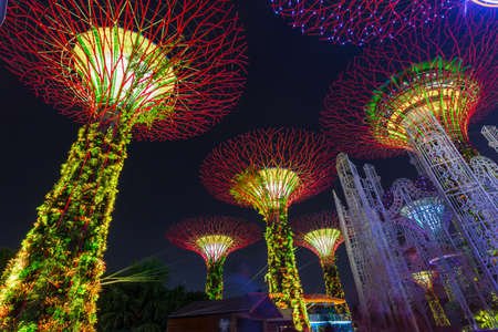SINGAPORE - NOVEMBER 19, 2016: Gardens by the Bay. The tree-like structures are fitted with environmental technologies mimic the ecological function of trees light and sound show in Christmas season
