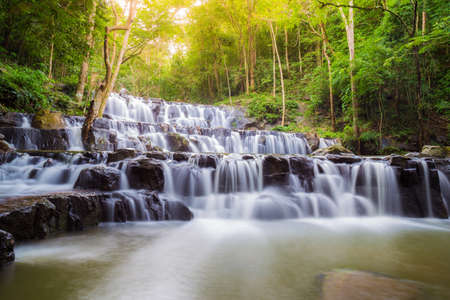 Beautiful deep forest waterfall are arranged like steps at Sam lan waterfall National Park Saraburi Thailand Stock fotó