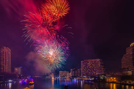 Fireworks to celebrate New Year on the Chao Phraya River in Bangkok, Thailand. Stock fotó