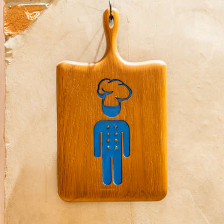 Wooden kitchen sign for chefs to cook only.