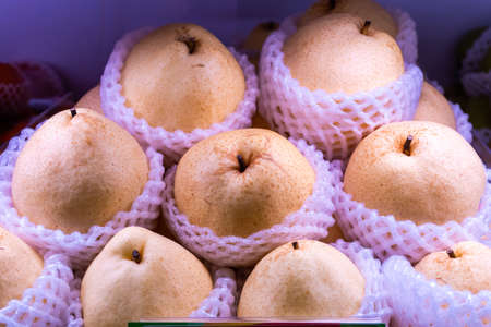 Chinese pear is on the shelf ready for sale in the market or supermarket.