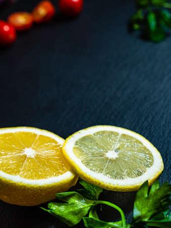Lemon tomato and lettuce