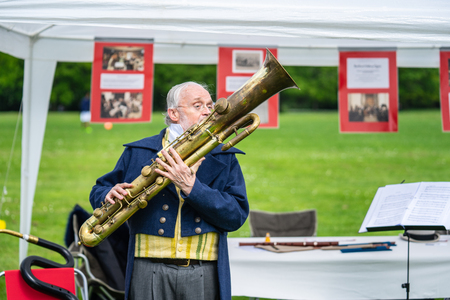 Bedford, Bedfordshire, UK. May 19,2019.The ophicleide is a keyed brass instrument similar to the tuba. It is a conical-bore keyed instrument belonging to the bugle family and has a similar shape to the sudrophone.