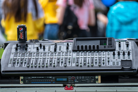 Bedford, Bedfordshire, UK. May 19,2019. A mixing console.Free community event in Bedford park.