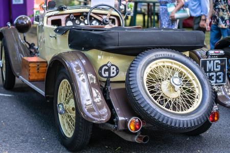 Bedford, Bedfordshire, UK. June 2 2019. Fragment of a Vintage MG sports car