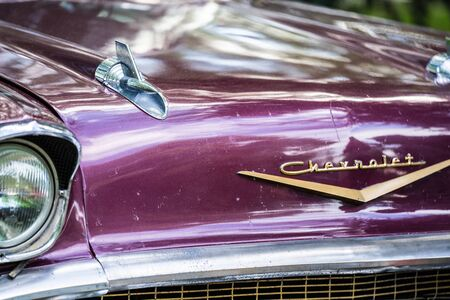 Bedford, Bedfordshire, UK June 2 2019. Fragment of 1957 Cheverolet .Chevy Old vintage car at festival of motoring