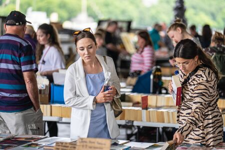 London,UK, July, 2019. Nestled under Waterloo Bridge is one of the only permanent outdoor second hand book markets in the south of England Publikacyjne