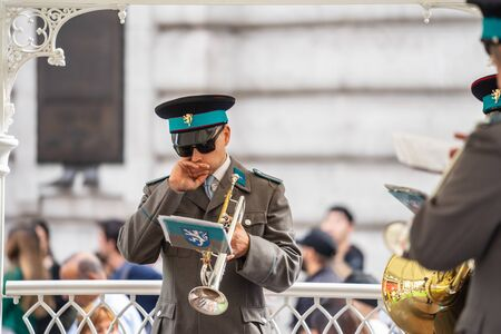 London, UK, July 14, 2019. Street Trumpet Player, Regent Street 報道画像